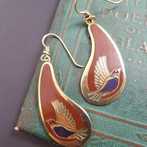 Vintage Signed Laurel Burch Swallow Enamel Earring